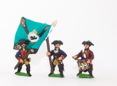 SYP3 Seven Years War Prussian: Command: Musketeer Officer, Standard Bearer & Drummer