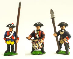 SYP3c Seven Years War Prussian: Command: Musketeer Officer, Standard Bearer (with flag pole only - no cast metal flag) & Drummer