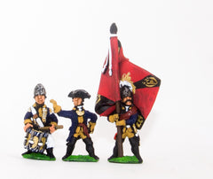 SYP6 Seven Years War Prussian: Command: Fusilier Officer, Standard Bearer & Drummer