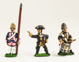 SYP6c Seven Years War Prussian: Command: Fusilier Officer, Standard Bearer (bare flag pole only - no cast flag) & Drummer