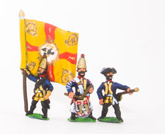 SYP9 Seven Years War Prussian: Command: Grenadier Officer, Standard Bearer & Drummer
