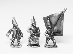 SYRU6 Seven Years War Russian: Command: Grenadier Officer, Standard Bearer & Drummer