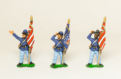 UN7 Union Infantry: Assorted Sergeant Standard Bearers holding furled Standard, at ease, in Sack Coat