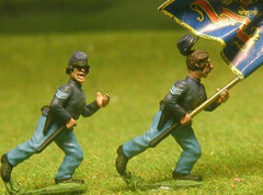 UN9 Union Infantry: Assorted Sergeant Standard Bearers, attacking (head variants)