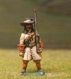 W7 Generic 17th Century: Musketeer with 12 Apostles & Shouldered Musket
