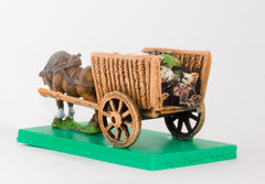 WAG15 Two wheeled open wicker cart with baggage and one Horse