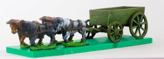 WAG2 Open Wagon with full planked sides and  4 oxen