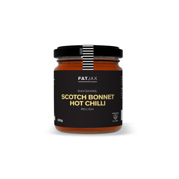 The scotch bonnet chilli originates from the Caribbean and Guyana where it is known as the 'ball of fire'. As-well-as being hot this ravishing relish is sweet and flavoursome, a great all rounder to have any time.  Serve With: Cheese, tortilla chips, sausages, burgers or even steak and chips.