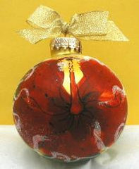 Christmas Ball Ornament - Red Hibiscus