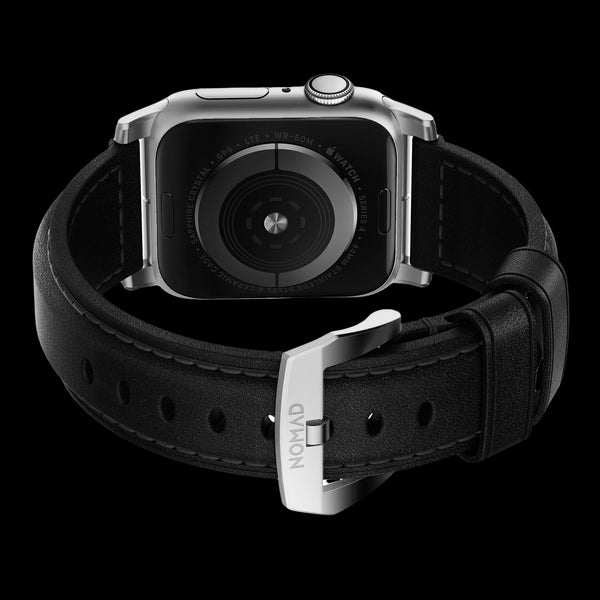 Nomad Traditional Leather Strap for Apple Watch - 44/42mm - Black/Silver