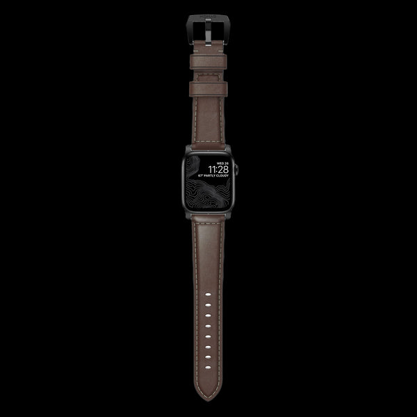 Nomad Traditional Leather Strap for Apple Watch - 44/42mm - Rustic Brown/Black