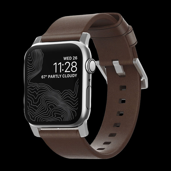Nomad Modern Leather Strap for Apple Watch - 44/42mm - Rustic Brown/Silver