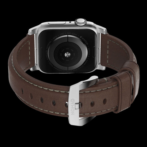 Nomad Traditional Leather Strap for Apple Watch - 44/42mm - Rustic Brown/Silver