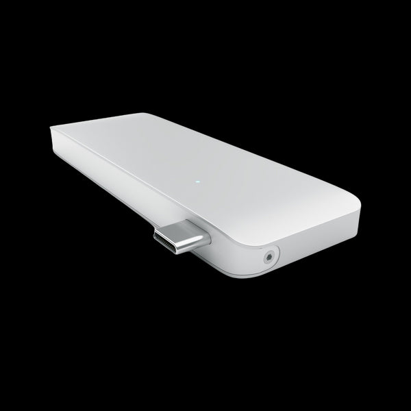 SATECHI Aluminium Type-C Pass-Through Hub Dock Adapter with USB-C Charging Port - Silver