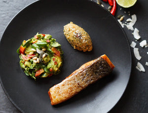 Pan fried Salmon with Sweet Potato Coconut Quinoa & Pumpkin Avocado Salsa