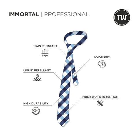 TRUWEAR Immortal Navy Light Blue Checkered Dress Tie