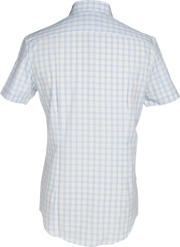 Phenom Classic Light Blue Tartan Short Sleeve Men's Dress Shirt.