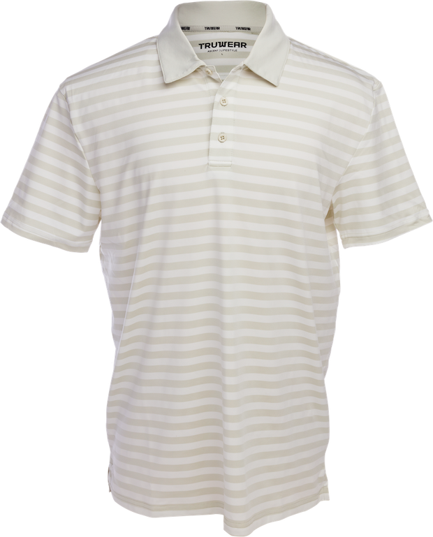Crest Lifestyle Performance Fabric Grey Striped Polo