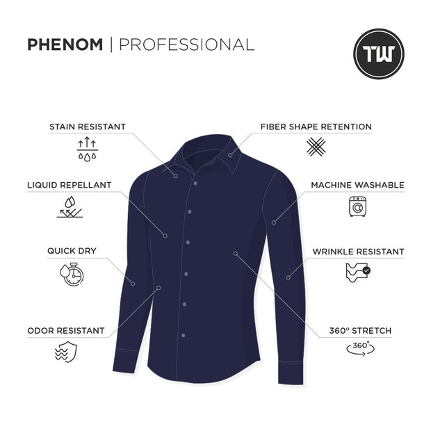 Phenom Professional Navy Blue Long Sleeve Dress Shirt
