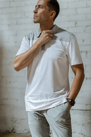 Crest Lifestyle Performance Fabric White & Grey Polo