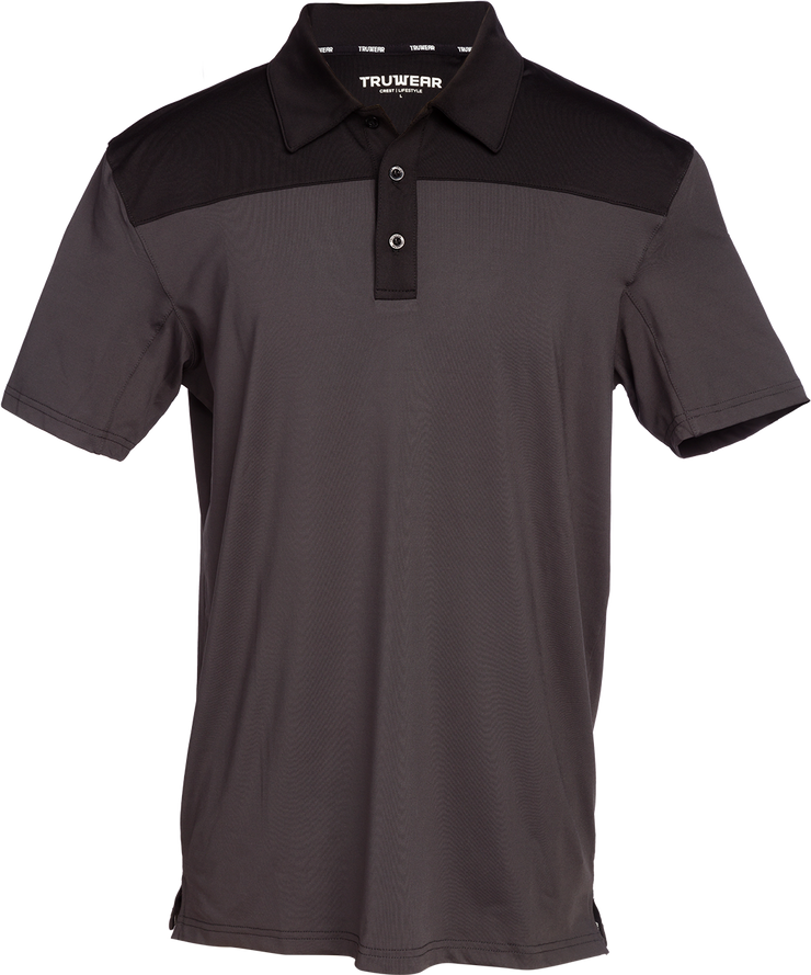 Crest Lifestyle Performance Fabric Black & Metallic Polo.