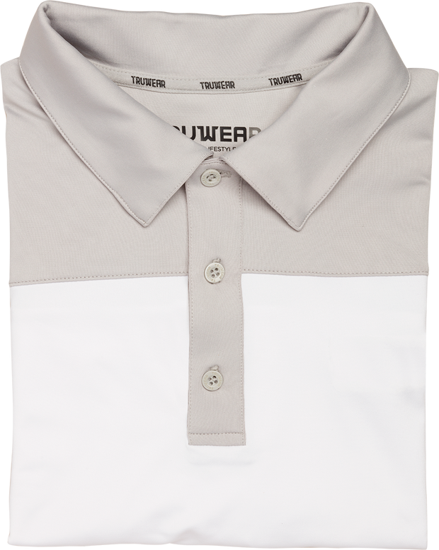 Crest Lifestyle Performance Fabric White & Grey Polo.