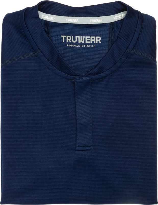 Pinnacle Lifestyle Navy Blue No Collar Polo.
