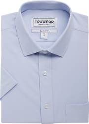 Truwear Light Blue Mens Short Sleeve Dress Shirts