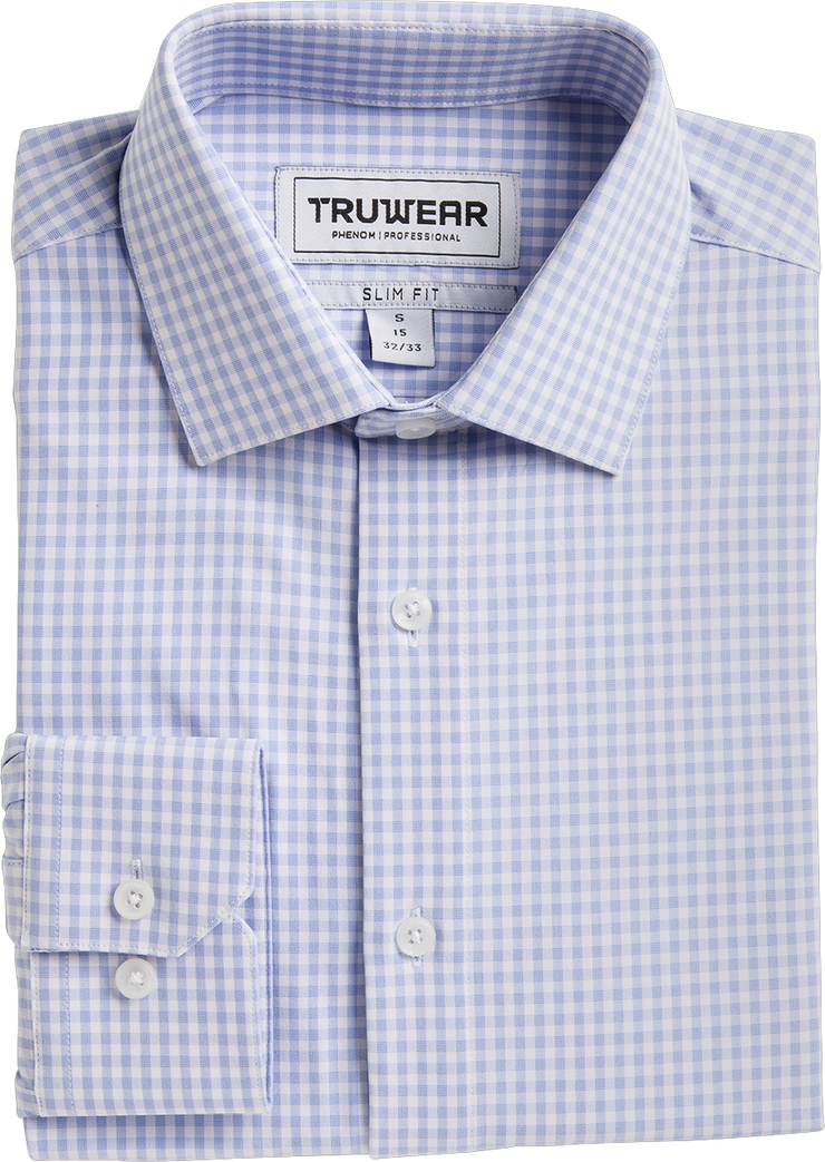 Phenom Professional Light Blue Gingham Long Sleeve Men's Dress Shirt