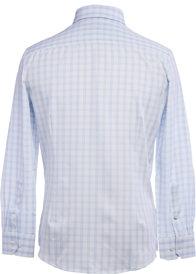 Phenom Professional Light Blue Tartan Long Sleeve Men's Dress Shirt