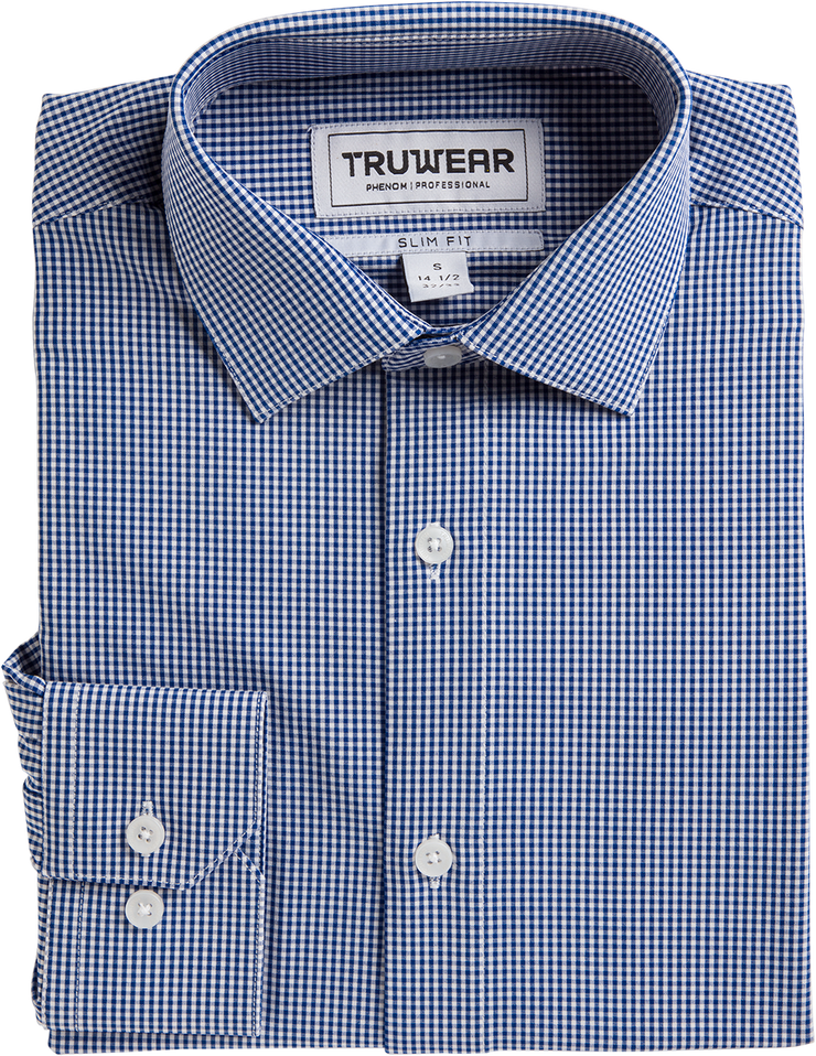 Phenom Professional Navy Blue Plaid Long Sleeve Men's Dress Shirt