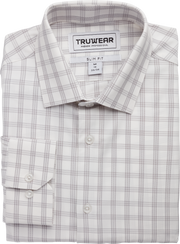 Phenom Professional Light Grey Tartan Long Sleeve Men's Dress Shirt