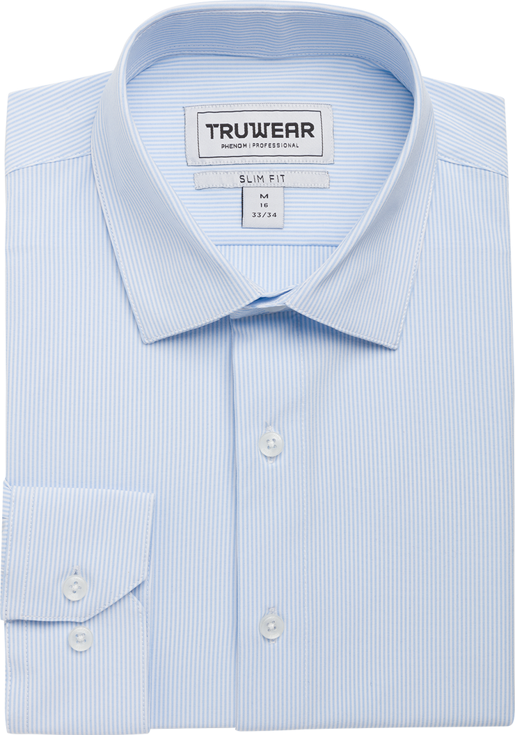 Phenom Professional Light Blue Striped Long Sleeve Men's Dress Shirt.