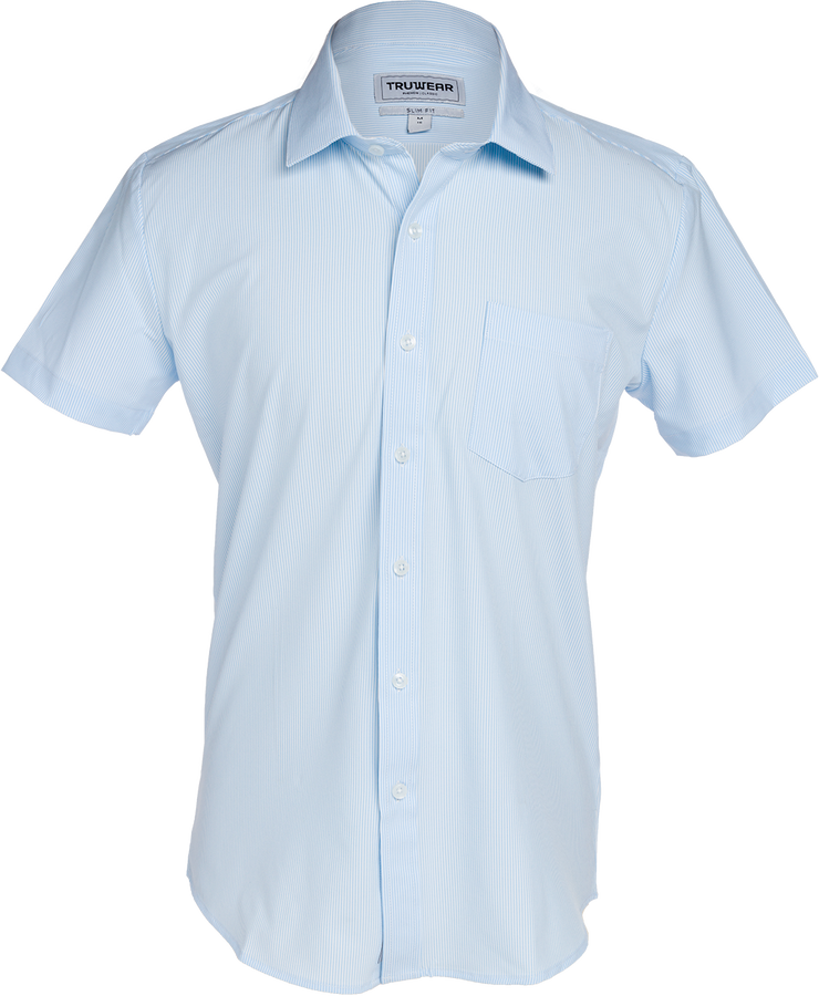 Phenom Classic Light Blue Striped Short Sleeve Men's Dress Shirt.