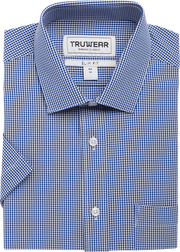 Phenom Classic Navy Blue Plaid Short Sleeve Men's Dress Shirt.