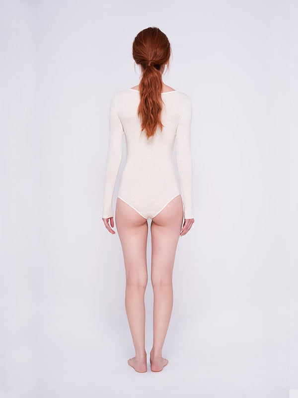 Body Manga Longa na cor Off White