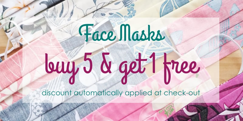 FACE MASKS - BUY 5 & GET 1 FREE AT ALOHAZ.COM - MADE IN HAWAII!