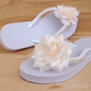 allure cream bridal hawaiian flip flops | hawaiian sandals pali hawaii flip flops