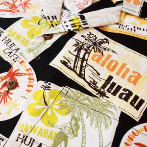aloha luau black hawaiian cotton shirt | hawaiian shirt men