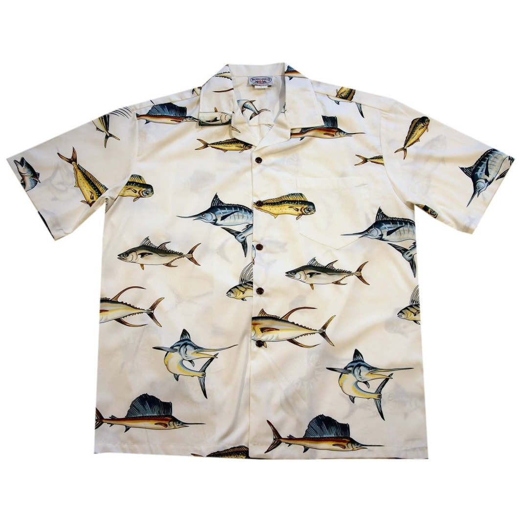 amazing fishing white hawaiian cotton shirt | hawaiian shirt men
