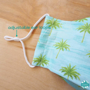 Antimicrobial 3D Face Mask + Adjustable Loops ~ Aqua Coconut Grove | face mask
