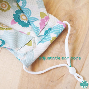 Antimicrobial 3D Face Mask + Adjustable Loops ~ Aqua Lazy Days | face mask