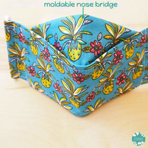 Antimicrobial 3D Face Mask + Adjustable Loops ~ Blue Pineapple Maze | face mask