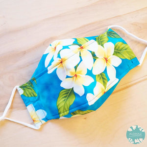 Antimicrobial 3D Face Mask + Adjustable Loops ~ Blue Plumeria Garden | face mask