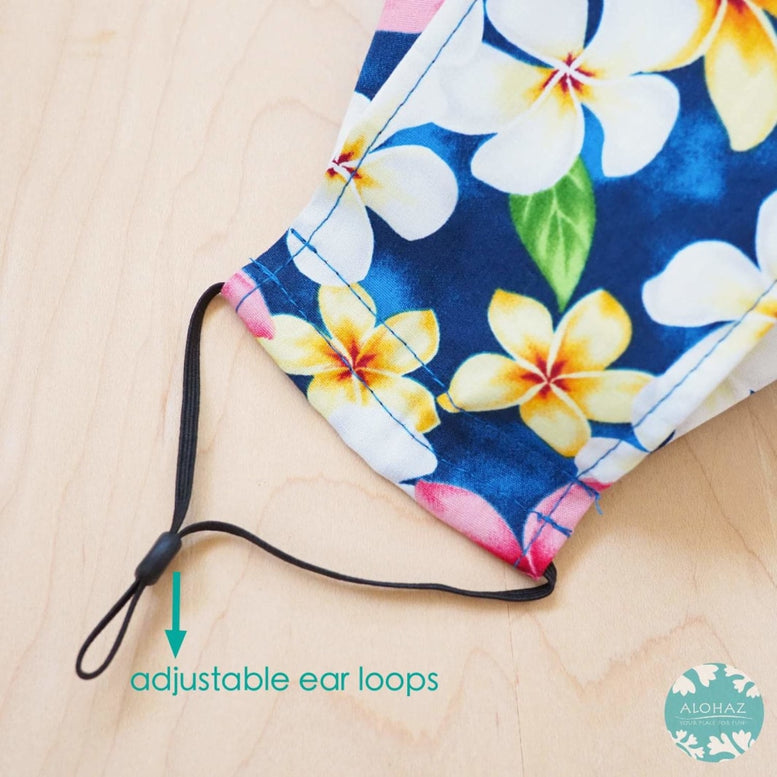 Antimicrobial 3D Face Mask + Adjustable Loops ~ Blue Plumeria Shower | face mask