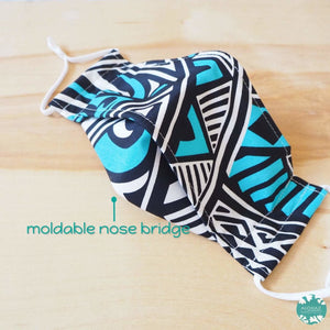 Antimicrobial 3D Face Mask + Adjustable Loops ~ Blue Tribal Tattoo | face mask