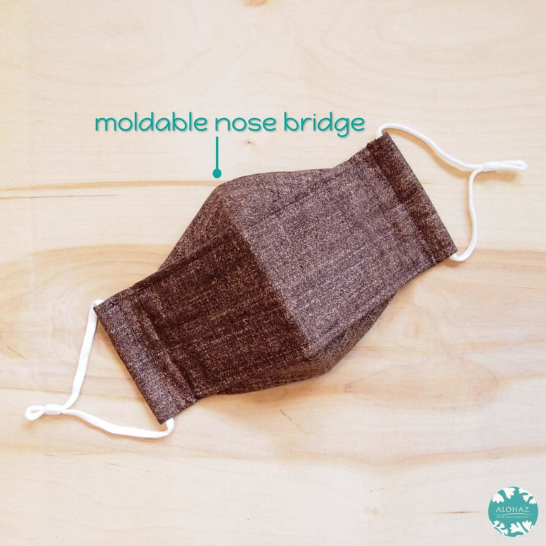 Antimicrobial 3D Face Mask + Adjustable Loops ~ Brown Chambray | face mask