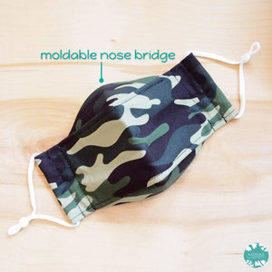 Antimicrobial 3D Face Mask + Adjustable Loops ~ Green Camouflage | face mask