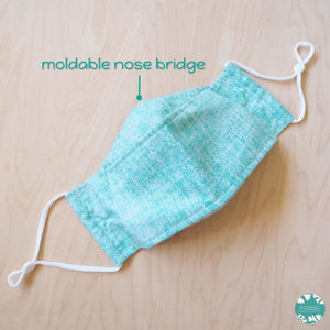 Antimicrobial 3D Face Mask + Adjustable Loops ~ Green Chambray | face mask
