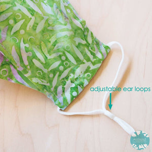Antimicrobial 3D Face Mask + Adjustable Loops ~ Green Grass | face mask